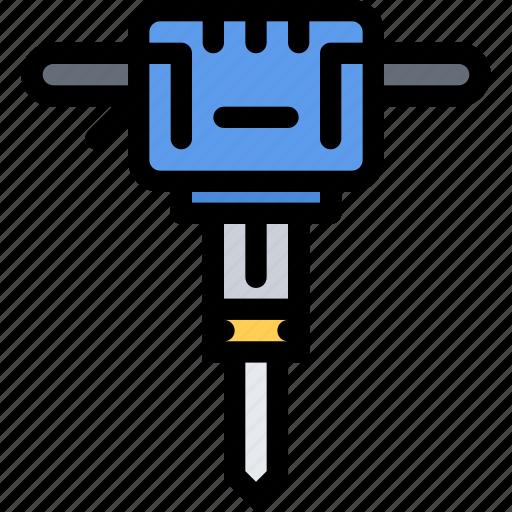 building, construction, jackhammer, realtor, repair, tool icon