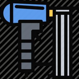 building, construction, gun, nailing, realtor, repair, tool icon