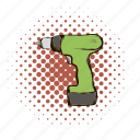 comics, drill, equipment, power, repair, tool, work icon