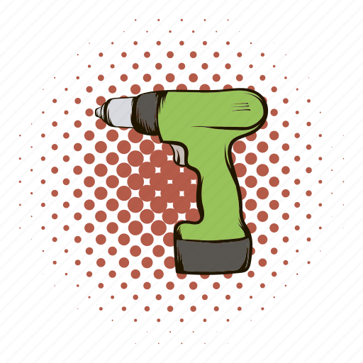Comics, drill, equipment, power, repair, tool, work icon - Download on Iconfinder