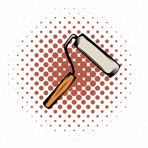 comics, construction, paint, roll, roller, tool, wall icon