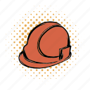 comics, hard, hat, helmet, orange, plastic, repairman icon