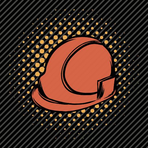 comics, hard, hat, helmet, orange, plastic, repairman icon
