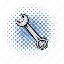 car, comics, key, spanner, tool, work, wrench icon