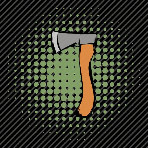 ax, axe, chop, comics, handle, houses, tool icon