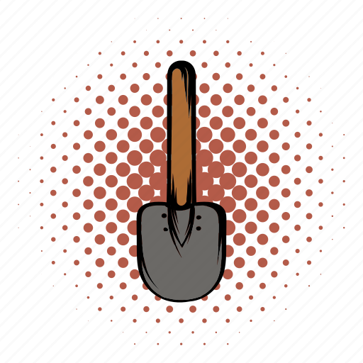 comics, construction, gardening, shovel, spade, tool, work icon