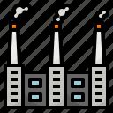 building, factory, polution, production, smoke icon
