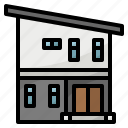 building, double, floow, home, house, modern icon