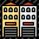 building, house, shophouse, twin icon