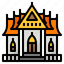 building, monk, religious, temple, thailand icon