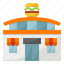 building, eat, fast, food, hamburger, restaurant icon