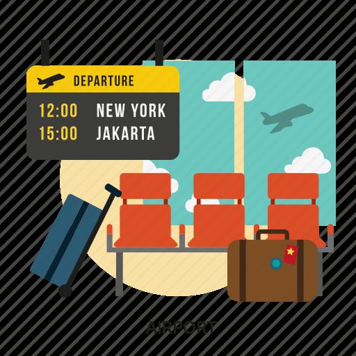 airplane, airport, building, departure, interior, passenger, transport icon