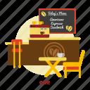 building, cafe, chair, design, interior, menu, table icon
