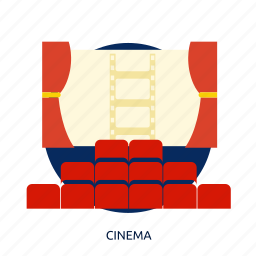 building, chair, cinema, entertainment, interior, theater icon