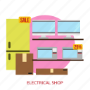building, electrical, electrical shop, interior, shop icon