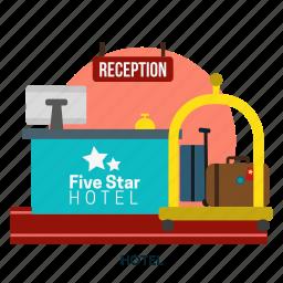 bed, building, hotel, interior, service, vacation icon
