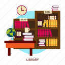 book, bookcase, bookshelf, building, education, interior, library icon