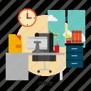 building, design, desk, interior, office, room, workplace