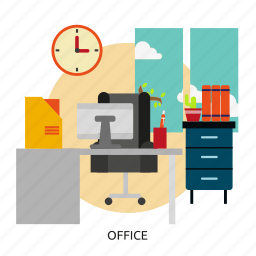 building, design, desk, interior, office, room, workplace icon