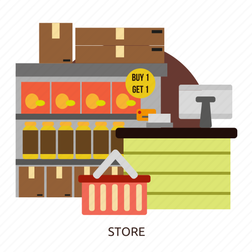 building, business, interior, market, retail, store, storefront icon