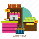 building, grocery, interior, market, retail, shop, supermarket icon