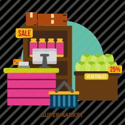 building, grocery, interior, market, retail, shop, supermarket icon