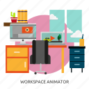 animator, building, interior, workspace, workspace animator icon