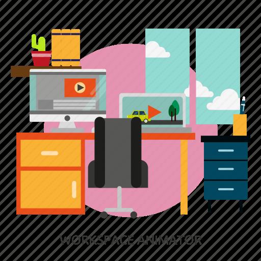 animator, building, interior, workspace, workspace animator icon