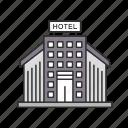 building, hotel, hotel building icon