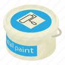 bucket, container, d456, isometric, object, paint, wall