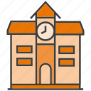 architecture, building, clock, real estate, school, tower, university icon