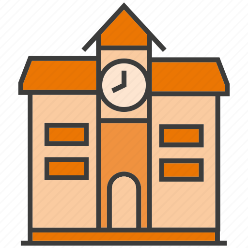 architecture, building, clock, real estate, school, tower, university icon