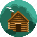 bushes, cabin, home, trees, wood icon
