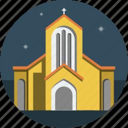 church, night, stars icon