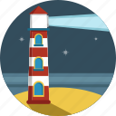 light, lighthouse, night, stars icon