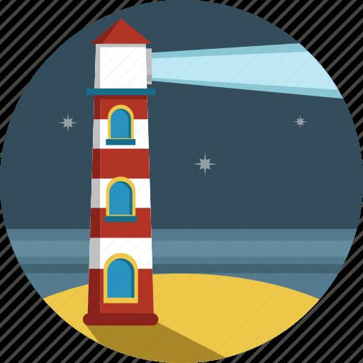 light, lighthouse, night, stars icon