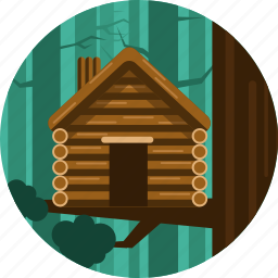 cabin, house, trees, wood icon