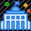 bigcity, building, cityhall, flag, patriotism, represent icon