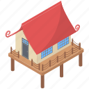 bungalow, cabin, cottage, dwellings, house, resort, villa icon