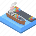 mariine, cargo ship, cruise, shipment, cargo freight, water fright, sea port icon