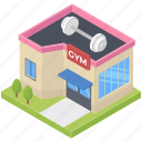 fitness center, gym, gym building, healthcare, sports place, workout icon