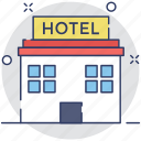 apartments, building, hotel, inn, lodge icon