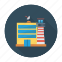 airport, architect, building, estate, real, satelite, tower icon