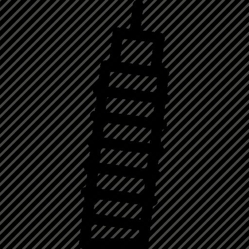 building, creative, grid, leaning, leaning-tower, line, pisa, shape, tilt, tourist-spot, tower icon