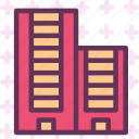 apartments, block, stores, window icon