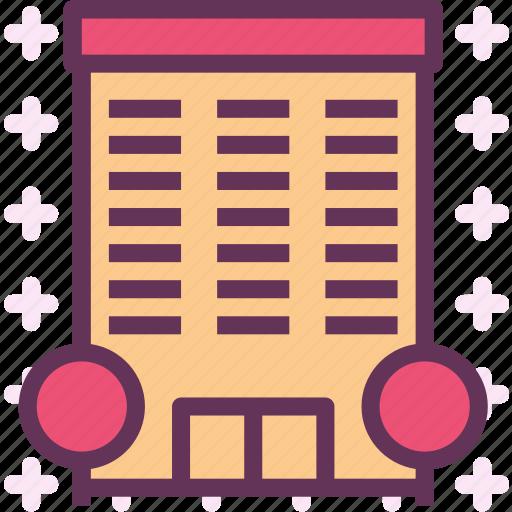 building, desk, office, parking icon