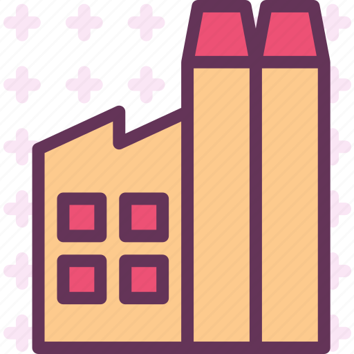 air, block, factory, material, poluate icon