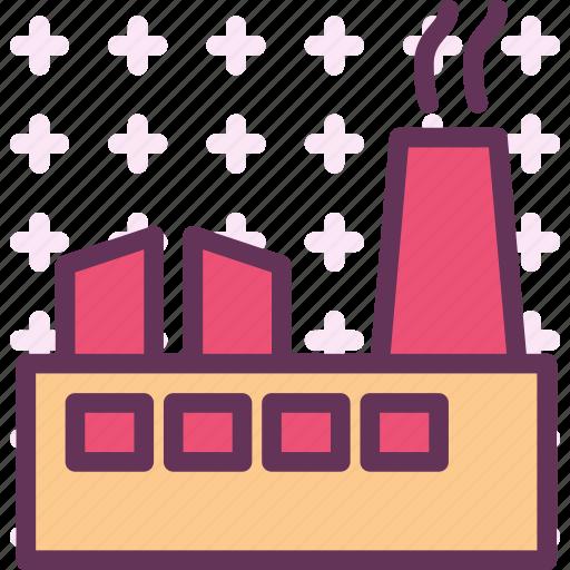 block, factory, material, poluate, smoke icon