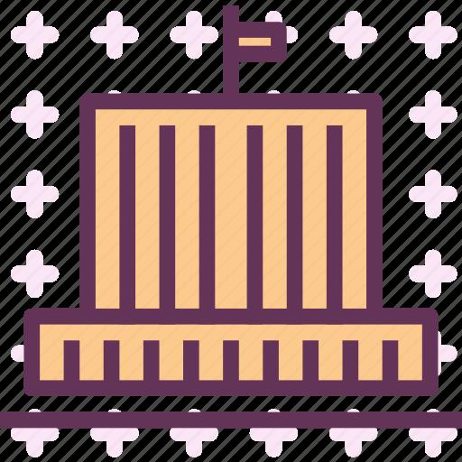 bigcity, building, flag, hall icon