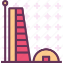 building, modern, office, round, tower icon